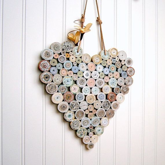 These upcycled and eco-friendly hearts add a unique, handcrafted charm to any decor. Perfect hanging from a shelf hook, on the wall, or in a