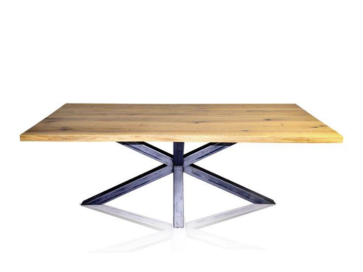 Masa din stejar cu picior metalic