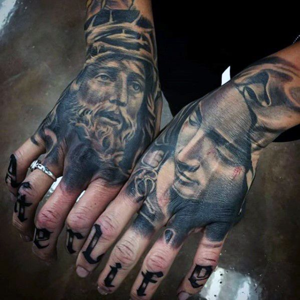 Guys Jesus And Mother Mary Realistic Hand Tattoos