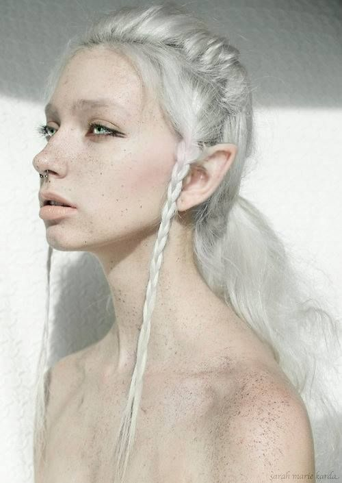 white hair body mod ear pointing face in another universe this is me...