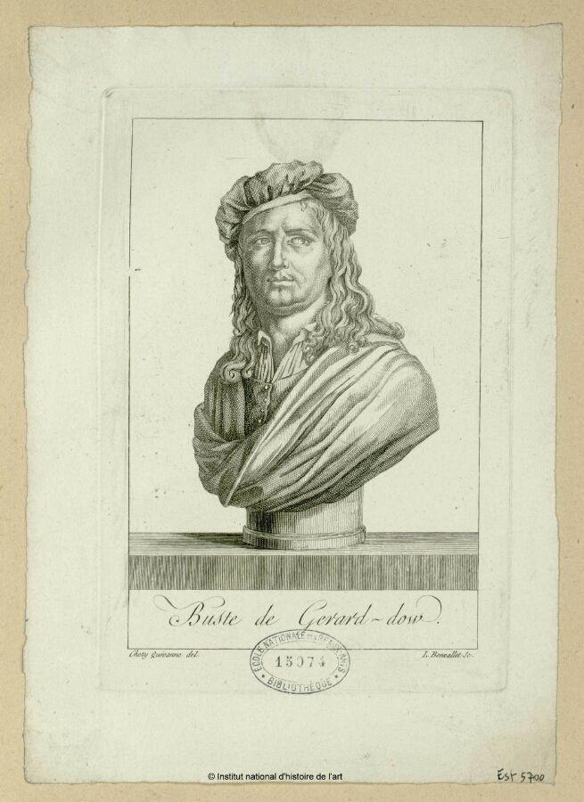 Bonvallet, L. graveur: buste de Gérard-Dow. 18e/19e eeuw. Institut national d'histoire de l'art, Parijs. Gravure.