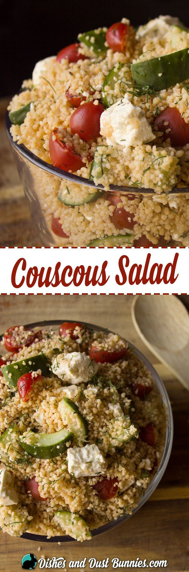 Couscous Salad with Tomatoes, Cucumbers and Feta from http://dishesanddustbunnies.com