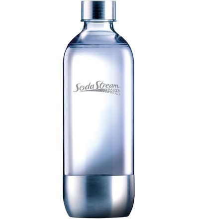 SodaStream Metal 1 l täyttöpullo. 9,90 € Myös muunlaiset litran pullot käy.