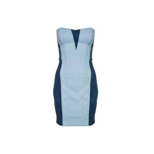 Guess Vestito di jeans blu ❤ liked on Polyvore featuring dresses