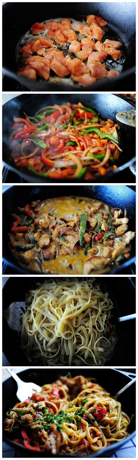 Cajun Chicken Pasta. This was A-Mazing! Planned to do it with spaghetti squash, but ended up just eating the sauce.