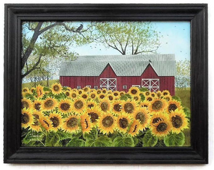 Sunflower And Barn Sunshine Billy Jacobs Art Print Country Etsy Wall Prints Wall Art Prints Custom Wood Frames