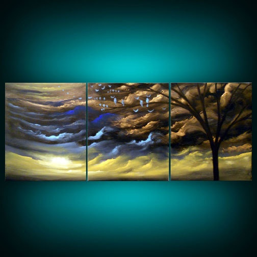 metallic gold tree painting abstract landscape painting sunset bird naive modern original silhouette tree cloud 33 inch Mattsart