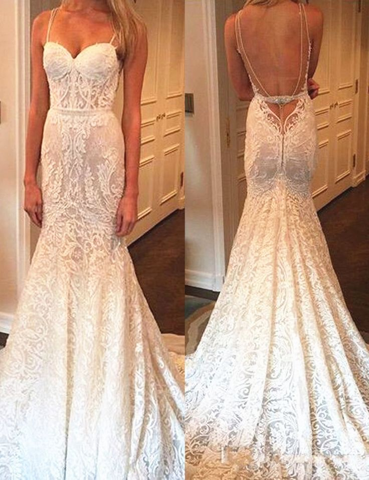Mermaid Backless Spaghetti Straps Long Lace Wedding Dress With Beading