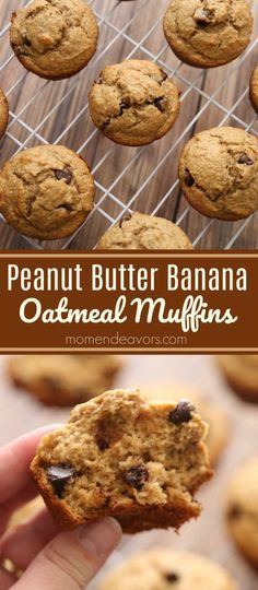 Peanut Butter Banana Chocolate Chip Oatmeal Muffins -  the whole family will love these delicious, flourless, gluten free muffins!