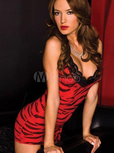 [10,62€] Éblouissante robe de club en nylon rouge de tenue attrayante féminine