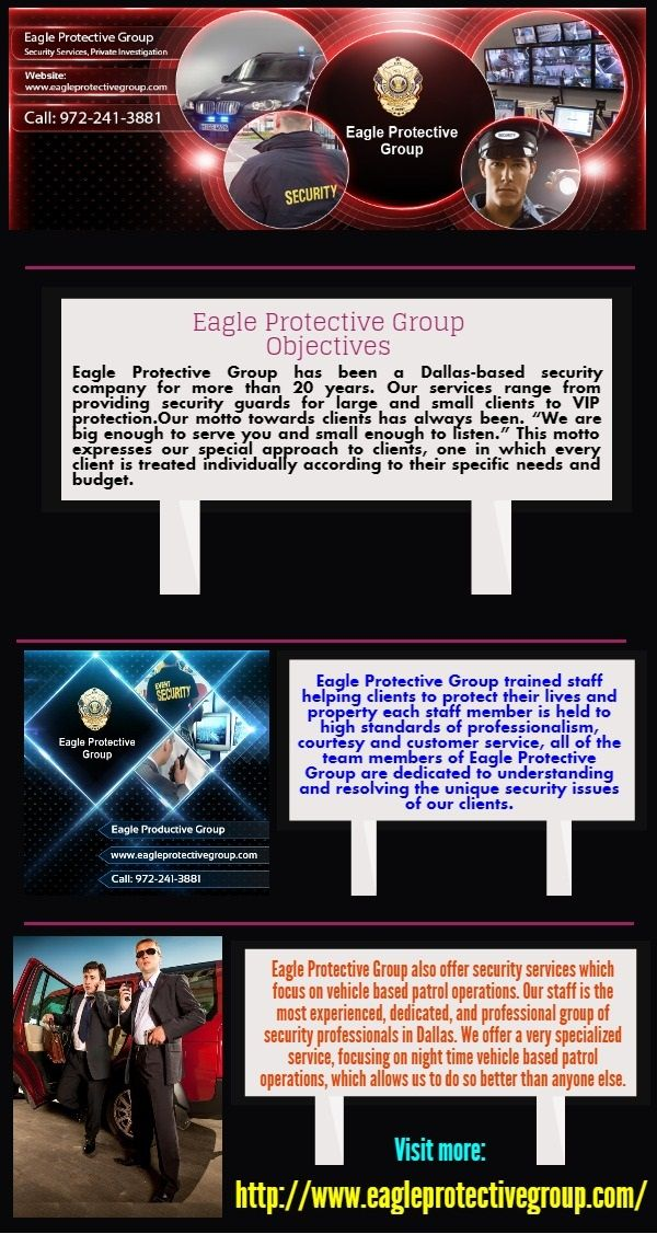 The Eagle protective group involves regular patrols of facilities on schedules set by our clients.Many times, Eagle protective groups are the first responds in emergency situations. https://www.evernote.com/shard/s509/sh/c25b98c3-8033-4839-98e5-f99cef78adc7/055171d48f8ff5e4acd61c6893b2661b