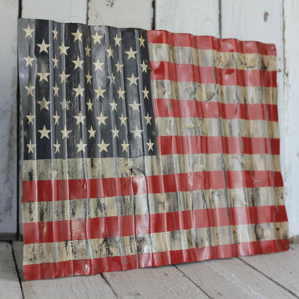 AMERICAN FLAG - Reclaimed, painted and distressed metal sign- Industrial, Rustic, Home Decor, Wall Art, Patriotic.via Etsy.