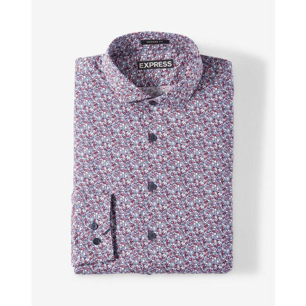 Express Modern Fit Small Floral Dress Shirt ($70) ❤ liked on Polyvore featuring men's fashion, men's clothing, men's shirts, men's dress shirts, red, mens cotton dress shirts, men's flower print shirt, express mens dress shirts, mens cotton shirts and mens floral print dress shirt
