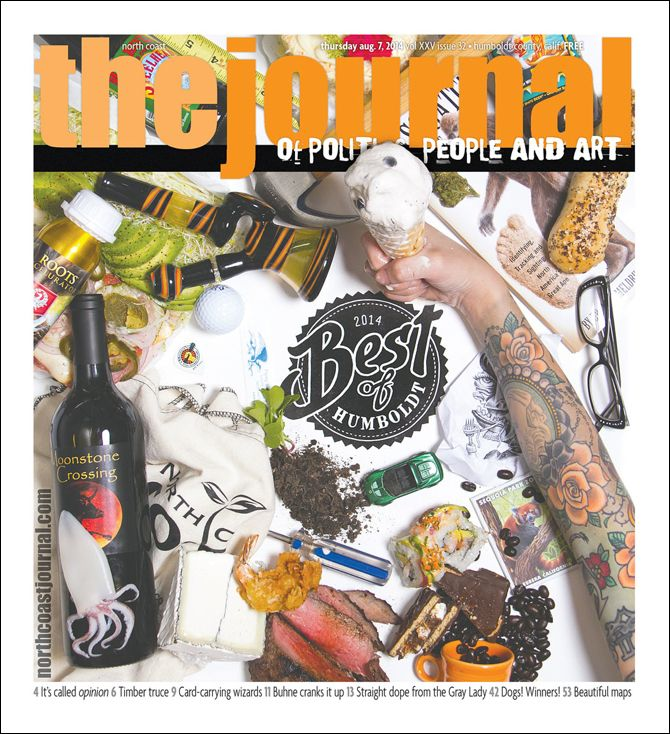 August 7, 2014 cover of North Coast Journal. One color linoleum block cut of the 2014 Best of Humboldt logo.  Concept — Lynn Jones and Drew Hyland. Logo design and linoleum block print — Lynn Jones/Just My Type Letterpress. Art Direction — Holly Harvey. Photography — Terrence McNally. Model — Renee Rivers. Copyright 2014 North Coast Journal. All rights reserved.