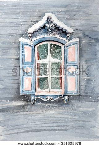 Russian winter window - stock photo