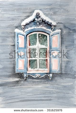 Russian winter window - stock photo