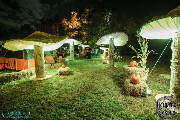 DIY Giant Mushrooms - video included - They can be used in a variety of ways  - for Alice in Wonderland themes, Dr. Suess themes, weddings, theater, festivals, garden parties, a Halloween haunted garden, and more. These giant mushrooms range in size from 5ft tall to 10ft tall. They are made using wood, chicken wire, cheesecloth, 2-part spray foam, paint and spandex