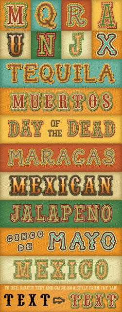Mexican Illustrator Text Styles   Vector EPS, AI | 32 Mb  Transform your headlines with my Mexican Text Styles!Graphic styles allow you to quickly change the look of an object. All the changes are applied with just one click! They work with text and vector shapes.The styles are great for Cinco de Mayo and Day …