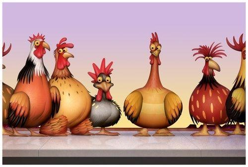 Gallinas y gallos en una cenefa, también pueden pintarse sobre l Antón o en madera.