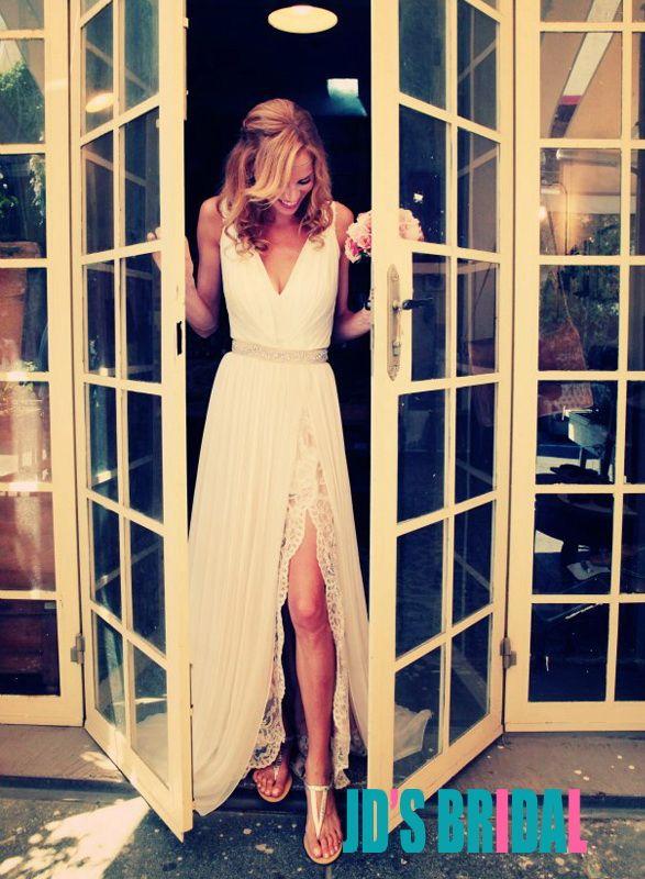 JOL166 Romantic boho chiffon and lace underlay slit wedding dress
