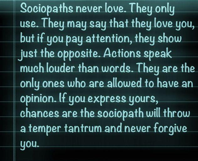Sociopaths Never Love