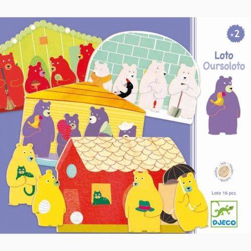 Un loto en bois mettant en scène des familles de quatre ours. Le but est de terminer en premier son carton. Ici, il suffit de reconstituer sa famille en récupérant les quatre ours et en les plaçant dans la maison. Chaque joueur choisit donc sa maison et sa famille à reconstituer. Tous les ours sont retournés, il suffit de prendre un ours au milieu, le garder ou le remettre selon sa maison. Le premier qui a retrouvé toute sa famille a gagné.