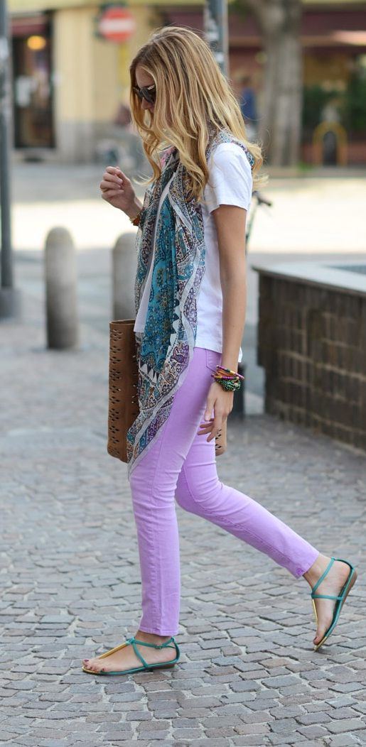 lavender purple skinny jeans white top scarf casual spring summer fall