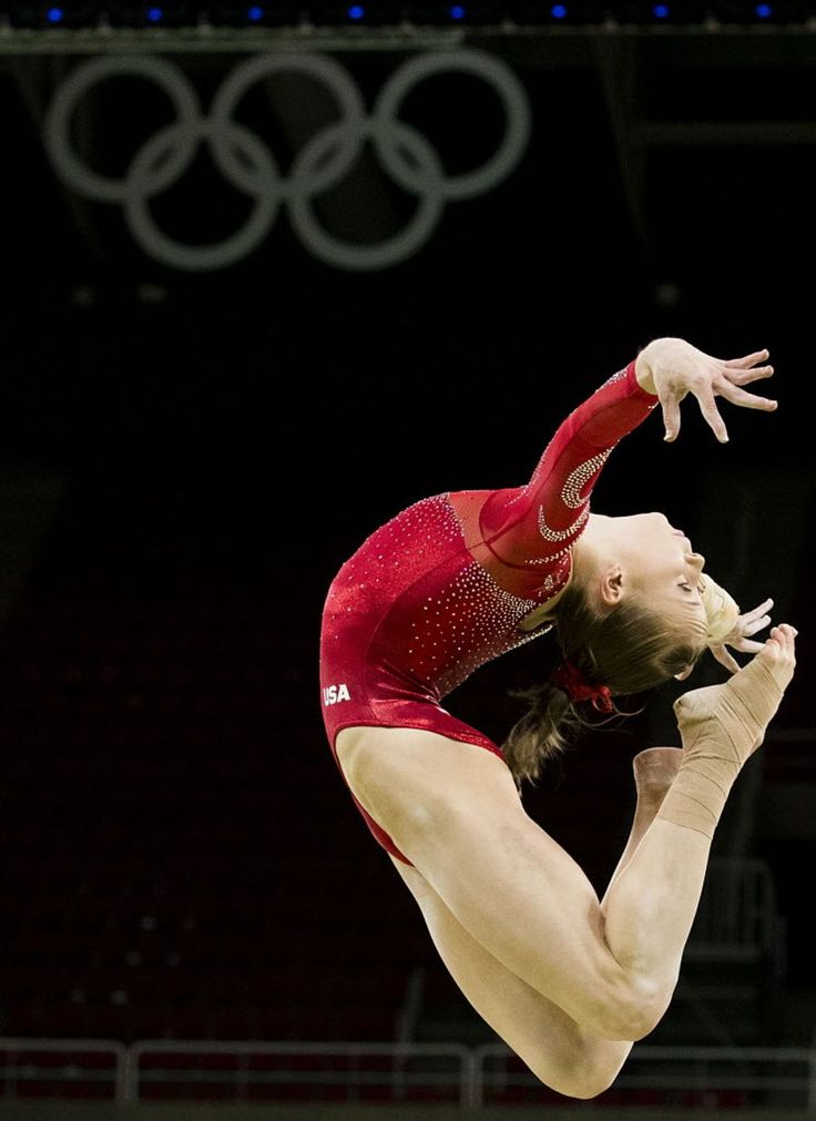 USA gymnast Madison Kocian of Dallas practices on the balance beam during a training session at the Rio Olympic Arena on the day before the opening ceremonies of the…