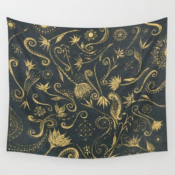 Gold & Black Floral Tapeten schwarzes Gold Gobelin von lake1221