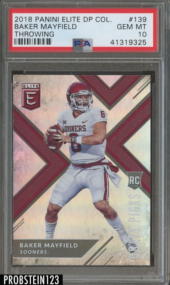 2018 Panini Elite 139 Baker Mayfield Sooners Rc Rookie Psa 10 Gem