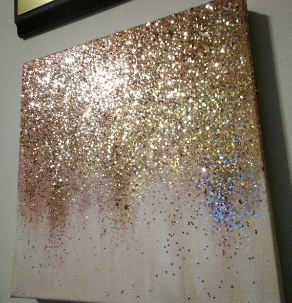 Handmade Abstract Glitter Painting Custom Modern Chic Home Glitter Wall Art Chic Home Decor Painting