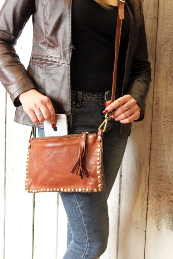 Handmade Italian  Vintage  Leather  Clutch with studs di LaSellerieLimited su Etsy
