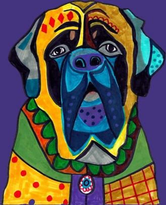 English Mastiff Art   Dog Art Modern Poster of by HeatherGallerArt, $24.00