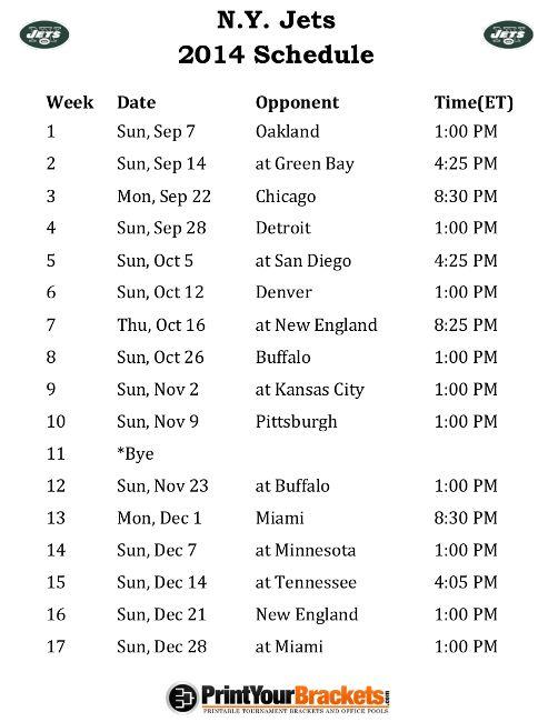 Printable N.Y. Jets Schedule - 2014 Football Season