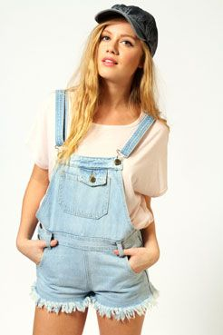 Danni Heavy Bleached Wash Denim Dungarees