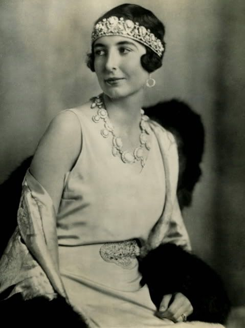 Princess Françoise of Orléans,second wife of Prince Christopher of Greece and Denmark, wearing the replica Turquoise Tiara from the Russian Imperial Collection, Greece (turquoises, diamonds). Original tiara made in 1890.