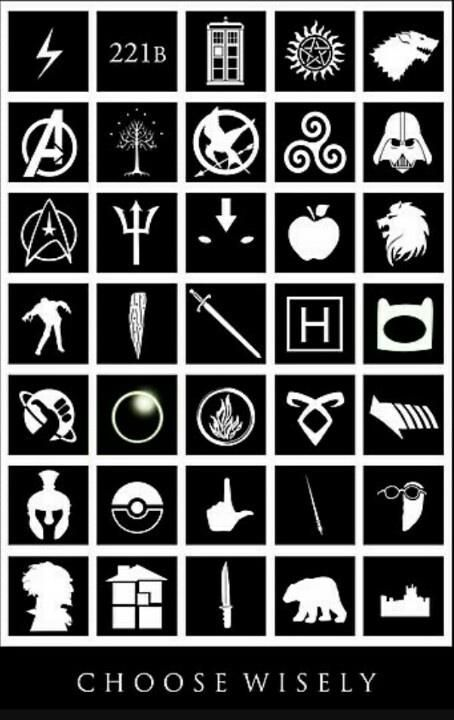The ones I recognize: Harry Potter, Sherlock, Doctor Who, Supernatural, Marvel, LOTR, Hunger Games, Merlin, Star Wars, Star Trek, Percy Jackson, Avatar the Last Airbender, Walking Dead, House, Adventure Time, Hitchhiker's Guide, Divergent, and Pokemon. I need to find out what the rest of these are...