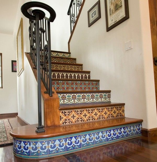 Mosaic stair risers - We got inspired from this picture and decided to do a very similar pattern on our stairs. - dorel :)