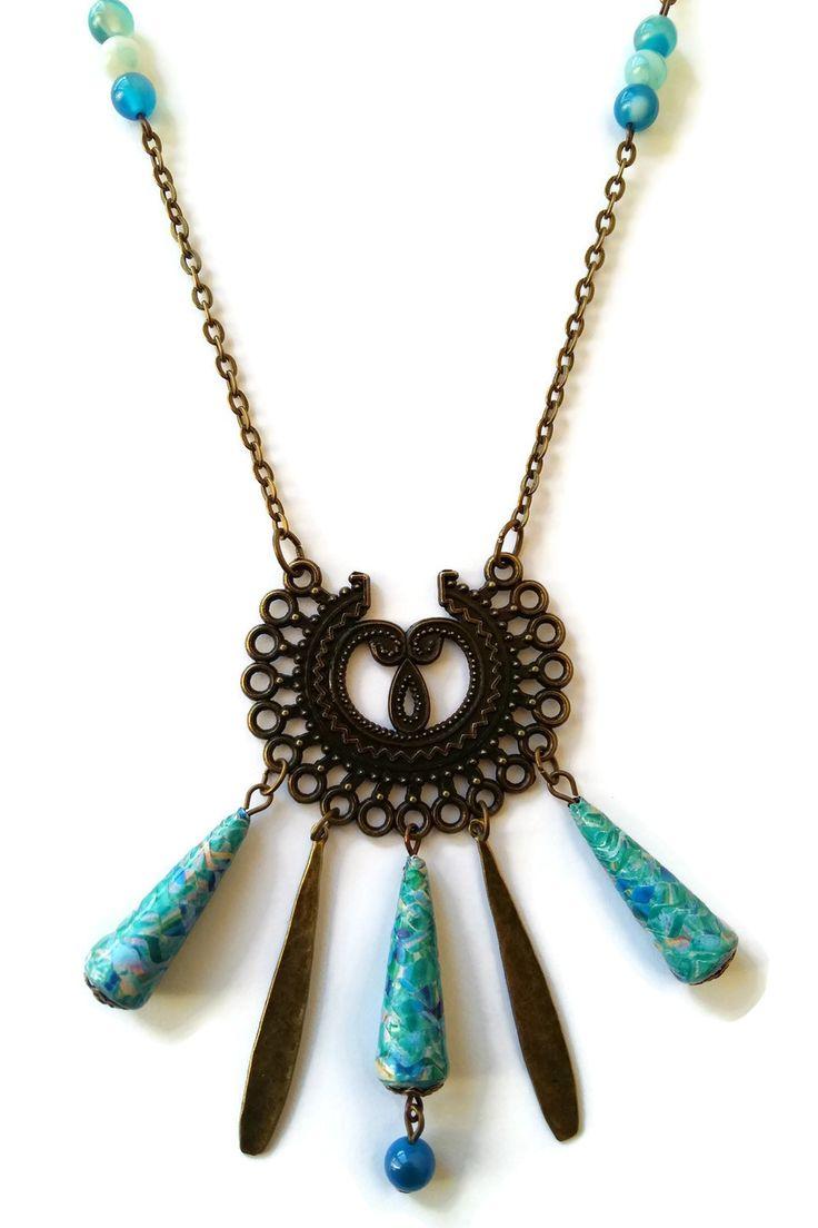 Collier Sautoir Bleu Perles en Papier Pierre Naturelles Gouttes Bronzes : Collier par cap-and-pap