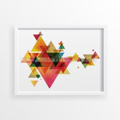 Triangle Mid Century Modern Geometric Poster - Moon Wall Stickers
