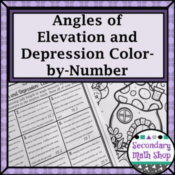 On sale for $1 on Dec. 13 - for more deals search #mathdollardeals Right Triangles - Angles of Elevation and Depression Color-By-Number WorksheetThis color-by-number worksheet covers the concepts of Angles of Elevation and Depression in story problem format.