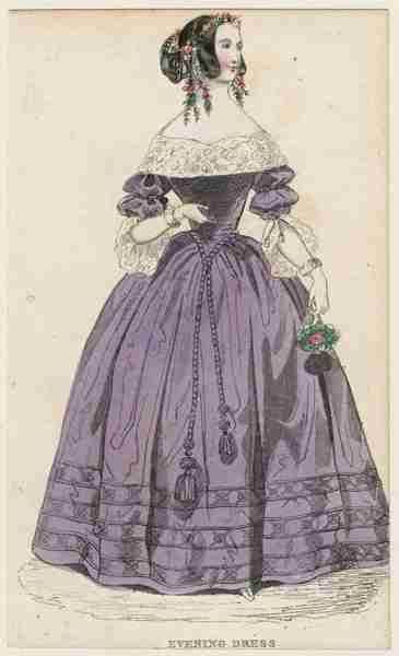 1840 evening dress --- this is really lovely. It has quite a 17th/18th century throwback style to it! And look at those darling tassels!
