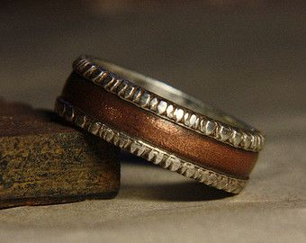 Rustic Mans Wedding Engagement Ring Of Sterling By IrinisWorld