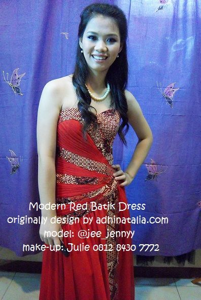 This Modern Red Batik Dress is one of my first cool design creation. I found it beautiful to combine the plain fabric like sateen and chiffon with my country ethnic material, Batik. :)