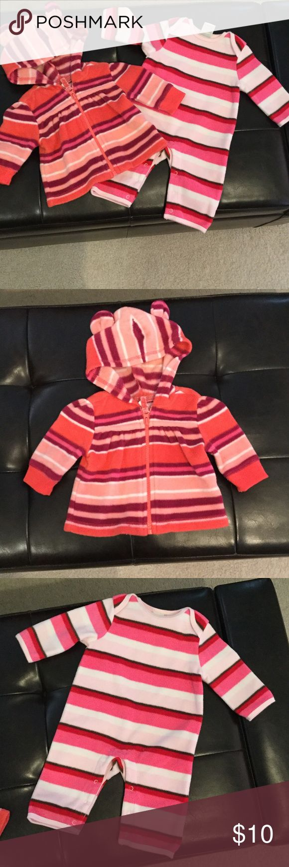 Fleece jacket - fleece romper Old Navy Orange striped zip up hooded jacket with ears on the hood - Old Navy pink striped one piece romper. Old Navy Other