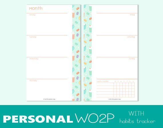 Personal size undated WEEK on TWO PAGES di TheLittlePlannerShop