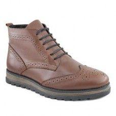 Зимние кожаные коричневые ботинки К-084-К-шерсть