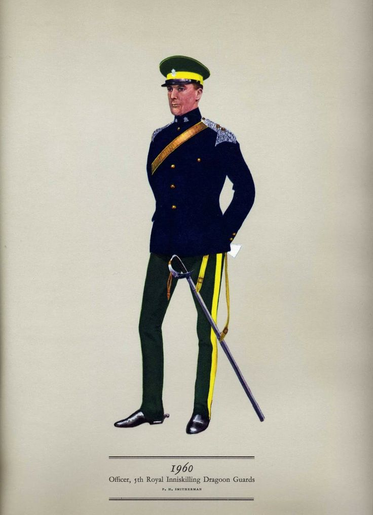 Officer of the 5th Royal Inniskilling Dragoon Guards, 1960: now part of the Royal Dragoon Guards after amalgamation with 4th /7th Royal Dragoon Guards in the 1990s.