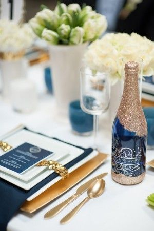 Preppy navy and gold tablescape: Idea, Gold Weddings, Blue Gold Wedding, Colors Schemes, Colors Blue, Wine Bottle, Navy, Tablescape, Glitter Bottle
