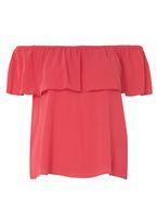 Womens Pink Ruffle Bardot Top- Pink